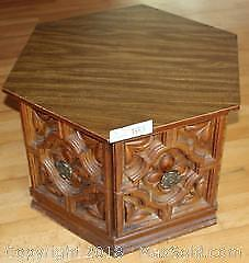 """Wooden Hexagon Side Table with Single Door Storage Pick up in Time-slot """"B"""""""