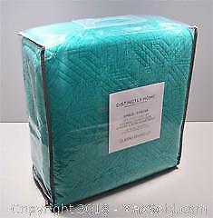 NEW Distinctly Home Aqua Cotton Queen Quilt & Pillow Shams - B