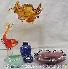 Six Piece Murano Italian Art Glass Mid-Century Modern Lot