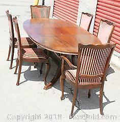 Antique Wood Dining Set - 6 Chains & Table With Built In Leaf