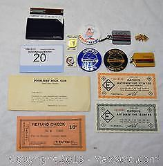 Lot of 13 EATON'S ITEMS. Included are paper goods, key chains,