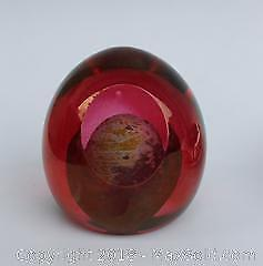 Signed, Dated, Blown Art Glass Paperweight