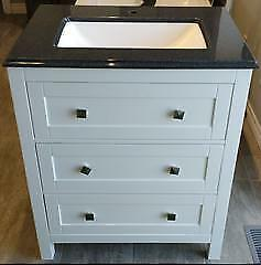 Anden Kitchen & Bath 30x21†2 Drawer White Vanity with Black Speckled Cultured Marble Vanity Sink Top