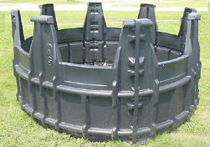 Hay Feeders and Hay Rings for round bales  designed for Horses