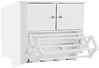 Danya B. Accordion Wall Mount Drying Rack With Cabinetwhite