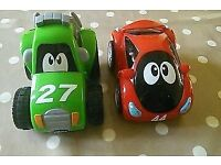 Two chicco push and go cars ( push down on the back a few times)