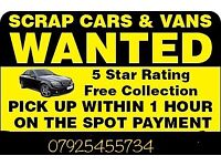 SCRAP/SELL YOUR CAR FOR CASH WITHIN 1 HOUR