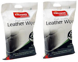 120-HIGH-QUALITY-KINGFISHER-LEATHER-WIPES-2-PACKS-OF-60-CLEANS-STREAK-FREE