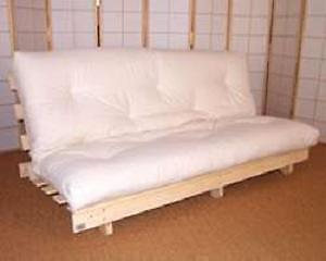 Futon with wooden frame and cotton mattress - great condition
