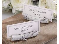 100 x Brand New Silver Birch Place Name Card Holder - Unique Rustic Chic Wedding / Party Accessory