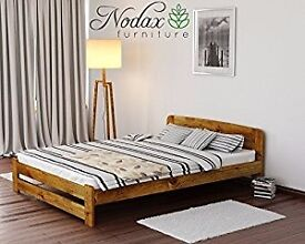 """New Solid Wooden Pine Bed Frame with slats """"ONE"""" (Oak, Double)"""