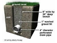 French Drainage, garden drainage, Domestic drainage, Turfing, Artificial grass.