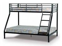 Bunk bed, queen size lower bunk and single size upper. Metal frame, like new.