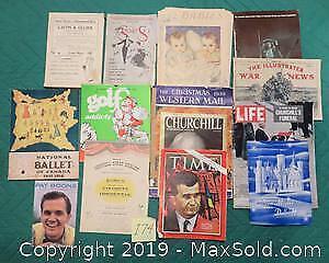 Fourteen items - Old magazines, Programs, & War stories