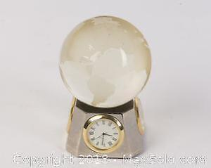 Crystal Ball Globe on Rotating base with Clock, Thermometer, Hygrometer