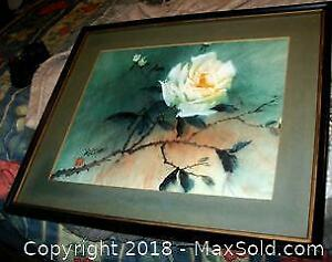 "Delicate Edwin Chau ""Yellow Rose"" Oil Painting"