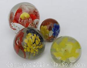 Lot of Blown Art Glass Floral Paperweights