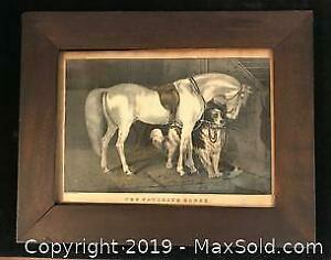 Antique Frame, Wood back with horse print