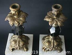 Pair of Old, Vintage Brass, Marble, Glass Candlesticks