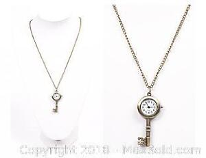 Bronze Coloured Skeleton Key Style Watch Necklace