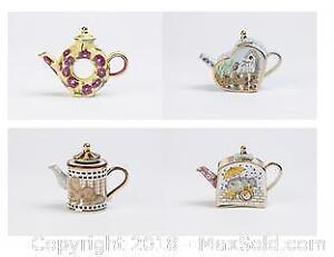 Four Vivian Chan Hand Painted Retired 2000 Miniature Collectible China Teapots