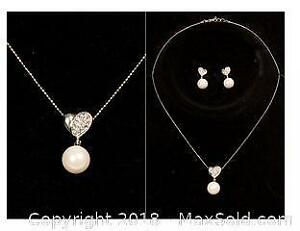 Costume Pearl with CZ Heart Design Necklace/Earring Set