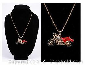 Red Motorcycle with Rhinestones Necklace