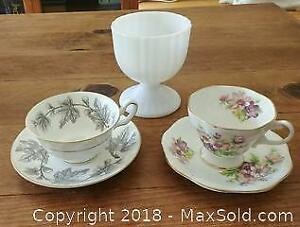 Bone China Teacups and Milk Glass