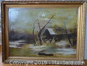 Painting of Winter Landscape at Night