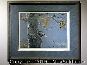 Robert Bateman White-Breasted Nuthatch on a Beech Tree limited edition, framed, s/n