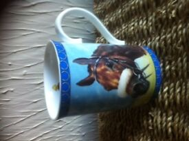 Racing Legends. 12 fine English Bone China mugs depicting famous race horses and jockeys