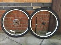 "Mountain bike wheels and tyres 20"" in excellent condition, only used once."