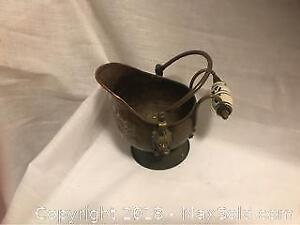 Copper Vintage Antique Water Jug Porcelain Handle