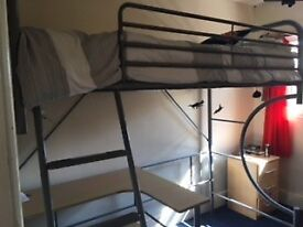 Single Benson Beds metal bunk bed (mattress not included) with wooden desk & chair. Good condition.