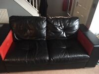 Brilliant conditon genuine leather sofa, 2 and 3 seater, modern black and red