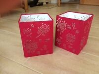 Pair of Red square lampshades