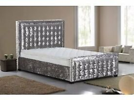 HIGH QUALITY Crushed Velvet Designer Bed Can Deliver Today Double bed King Bed PayOn Delivery