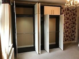 Sharps Fitted 5-door wardrobe + Dressing table + chest drawers x2