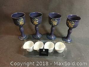 Clay Goblets And Dip Cups
