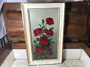 Old Oil on Board of Red Roses By John Dyckman
