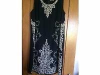 NEXT navy blue embroidered silk shift dress - size 12