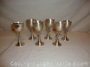 6 vintage silver plated figural with cherubs shot glasses