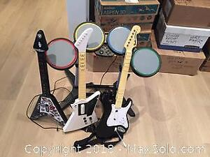 Rock Band Guitars, Drums, Mike And Music Discs