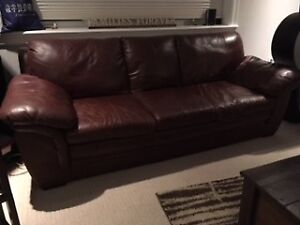 Brown Leather Living Room Set (3 piece) *plus area rug