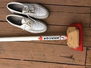 curling broom and shoes