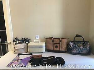 Ladies Purse, Travel Bag and Vintage Train Case Lot