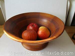 Vintage Hand Turned Solid Teak And South American Purple-Heart Wooden Center Piece Fruit Bowl.