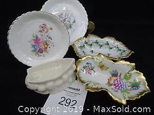 Beleek Boat, Two Herend Dishes and Two Coal Port Trinket Trays