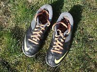 Football Boots Astroturf, Nike Atomic, UK size 2, Black/grey/orange, Excellent condition
