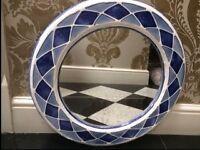 Round Mirror Hand Made Blue Ceramic frame £15